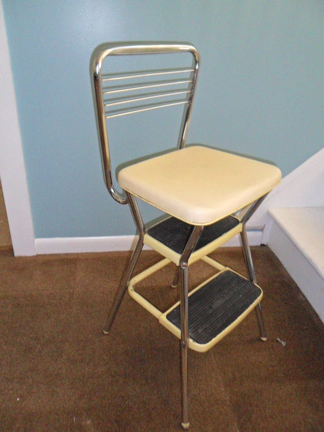 kitchen step stool with seat drawer cabinet base vintage cosco yellow chair flip up
