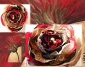 Red, black and brown large flower brooch with pearls in the middle makes an elegant gift for her - Beadsnbrooches