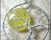 Wire Wrapped Sun Tree of Life Pendant Yellow Jade Sun Handmade Jewelry Sterling Silver (Summer Solstice Sunny Sunshine Sol) - PhoenixFireDesigns