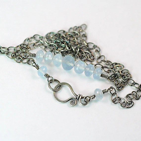 Ready To Ship, Blue Chalcedony Sterling Silver Necklace, Oxidized Handmade Natural Gemstone AAA Faceted - AmeliaGwynne