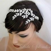 bridal headband crystal leaf