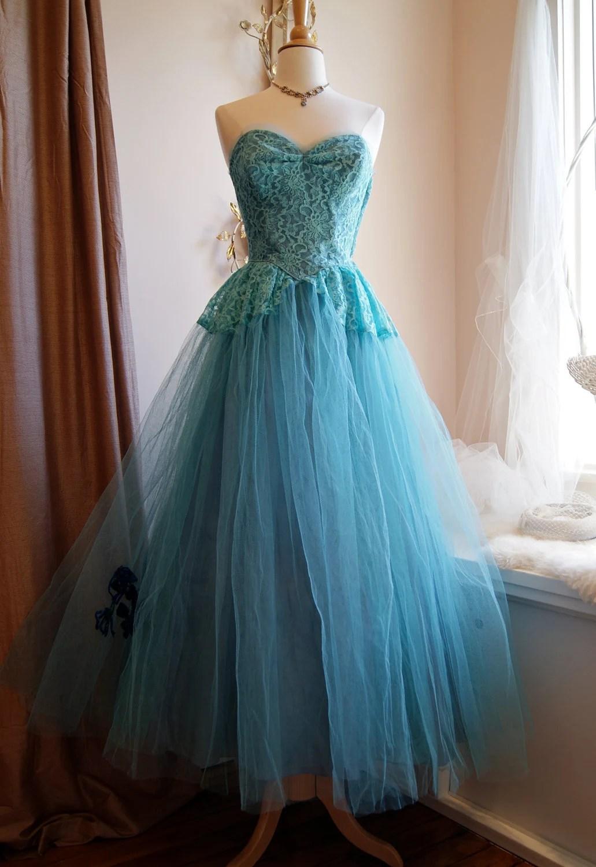 50s Dress  50s Prom Dress  Vintage 1950s by xtabayvintage