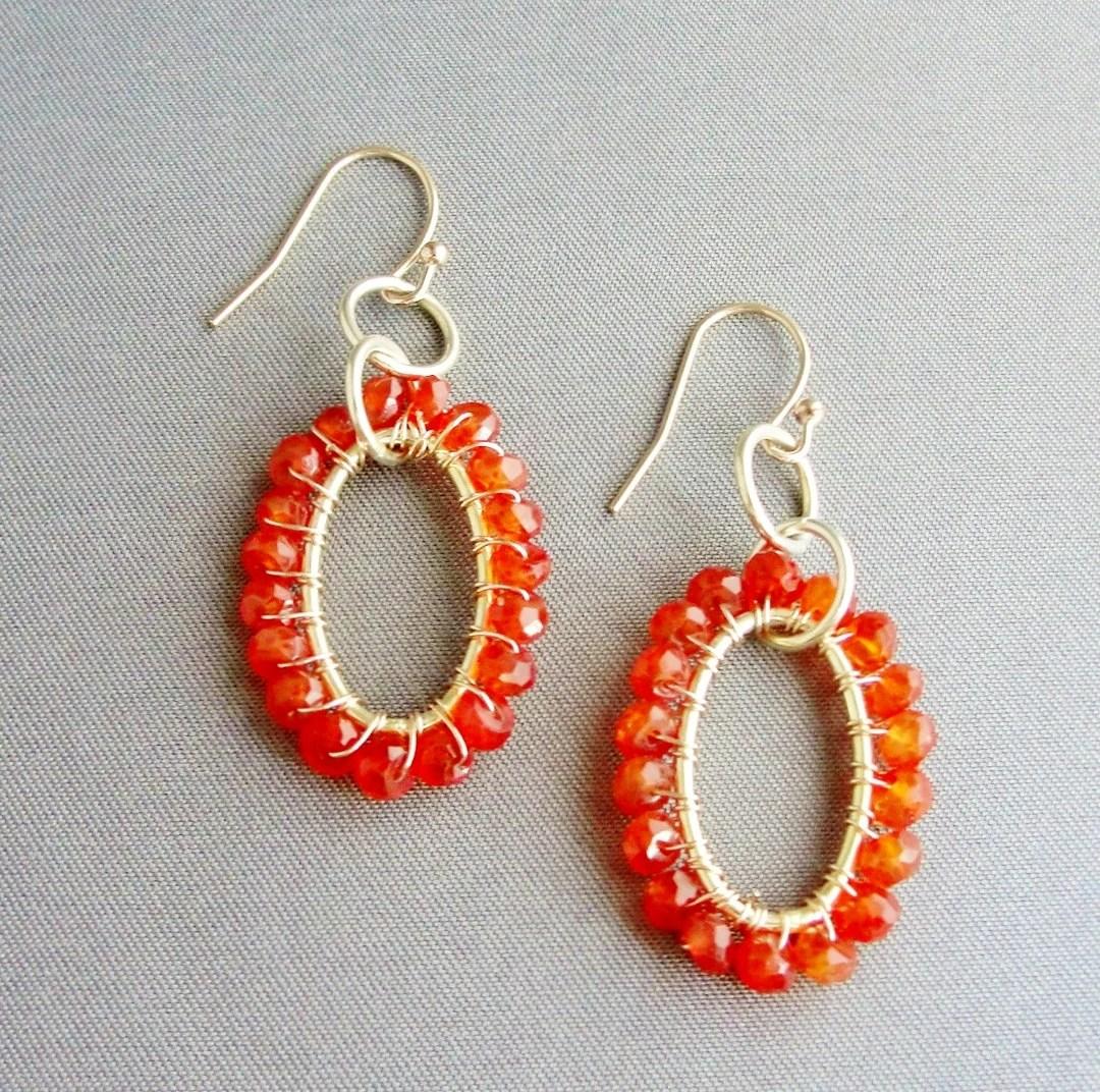 Carnelian Wrapped Oval Earrings 14kt Gold Fill - WoodstockNYC
