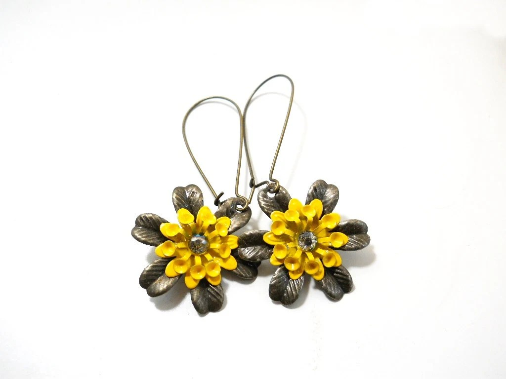 Flower Dangle Earrings, Yellow Enamel Flower, Antiqued Brass, Summer Fashion, Rustic Jewelry - ChelseaGirlDesigns