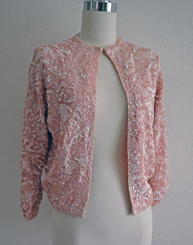 Vintage 50s 60s Pink Sequin Sweater  Iridescent Pearl Pink