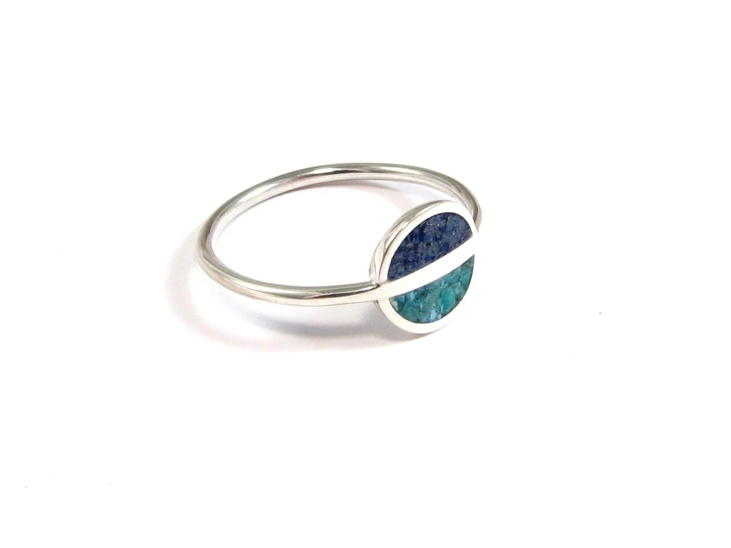 Turquoise Sterling Silver Ring Minimal Ring Saturn Blue