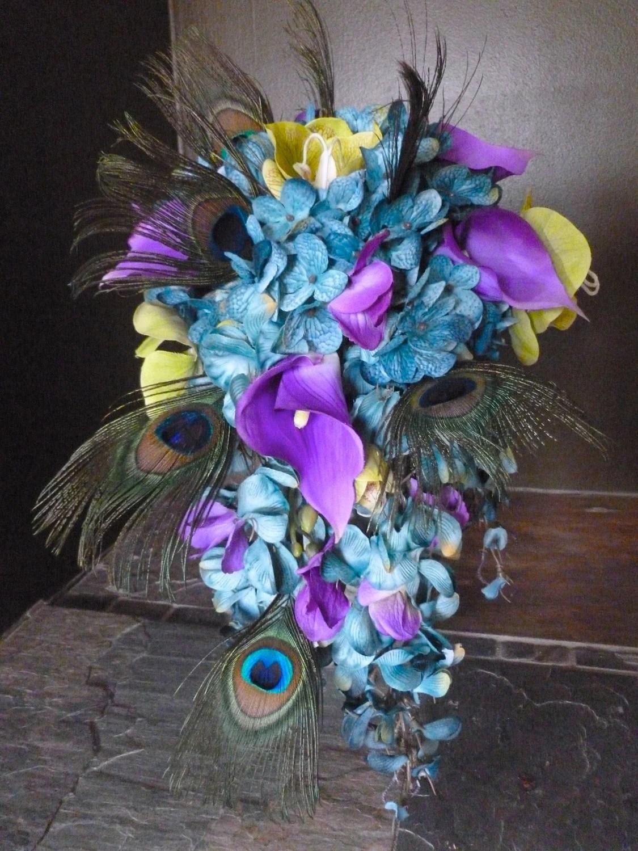 Cascading bridal bouquet with teal hydrangeas purple calla