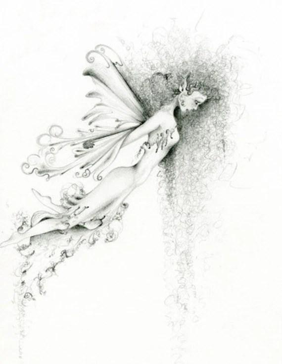 Fairy Art OOAK Pencil Drawing Orginal Fantasy Drawing