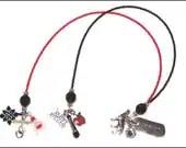 Breaking Dawn - black and red glass double strand goth beaded bookmark / bookthong ribbon Team Edward - llanywynns