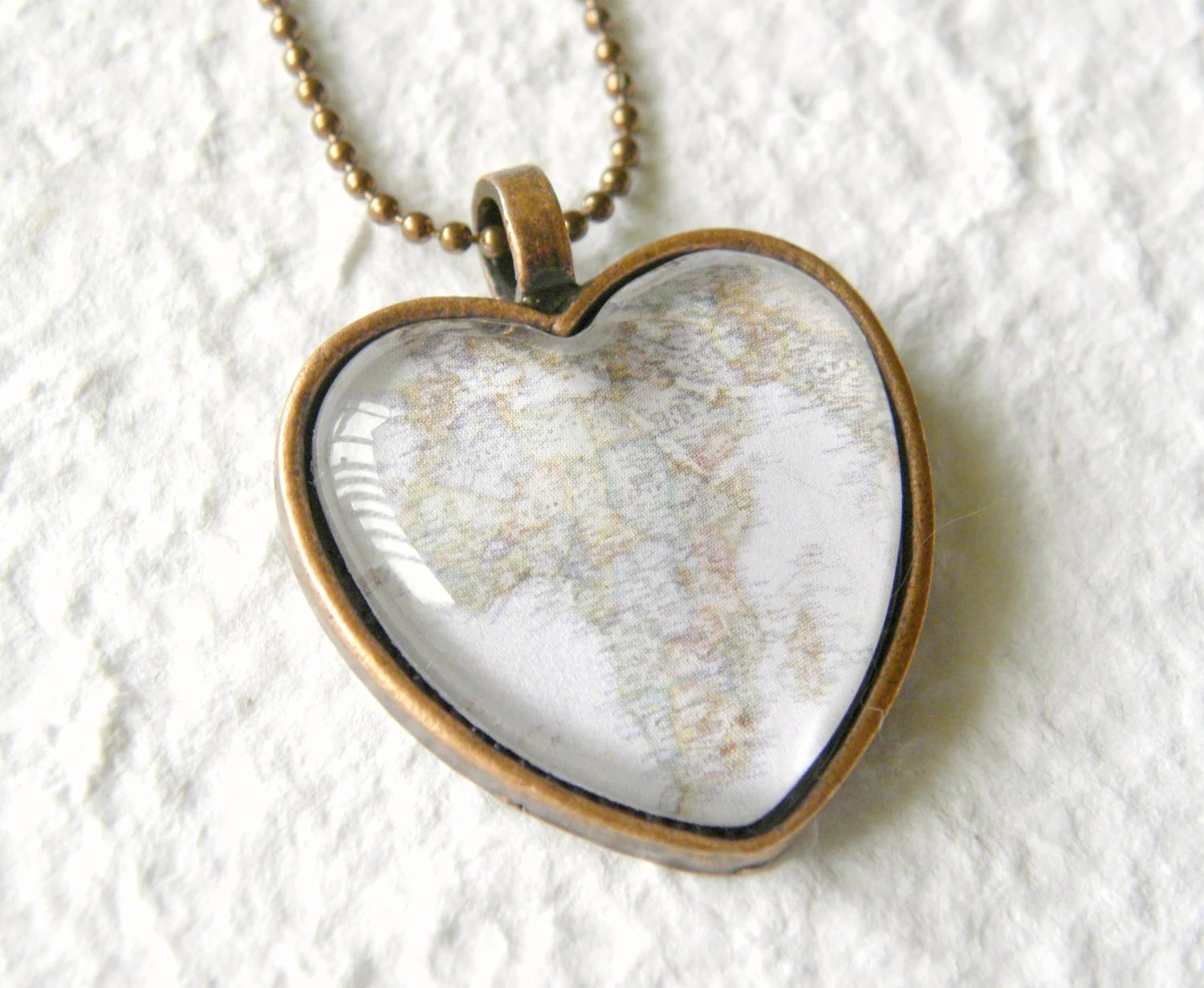 World Traveler Heart Shaped Map Necklace - Africa - TheGreenDaisyShop