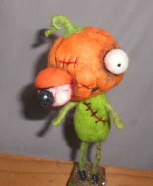 Zombie Jack O Lantern needle felted art doll