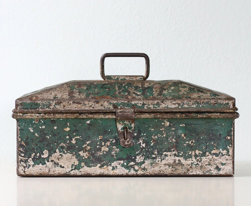 Vintage Tool Box - Green Metal Tool Box - bellalulu