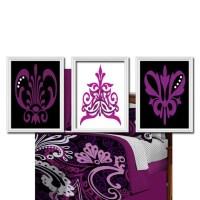 Damask Wall Art Canvas Artwork Purple Plum Black by TRMdesign