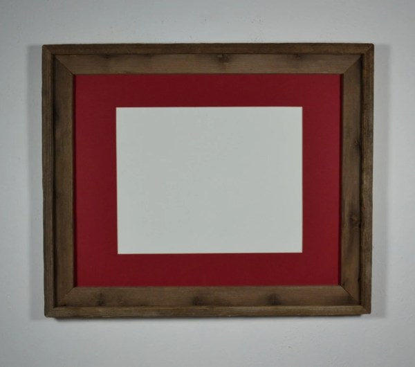 16x20 Recycled Barn Wood Frame Red Mat 11x14 Barnwood4u