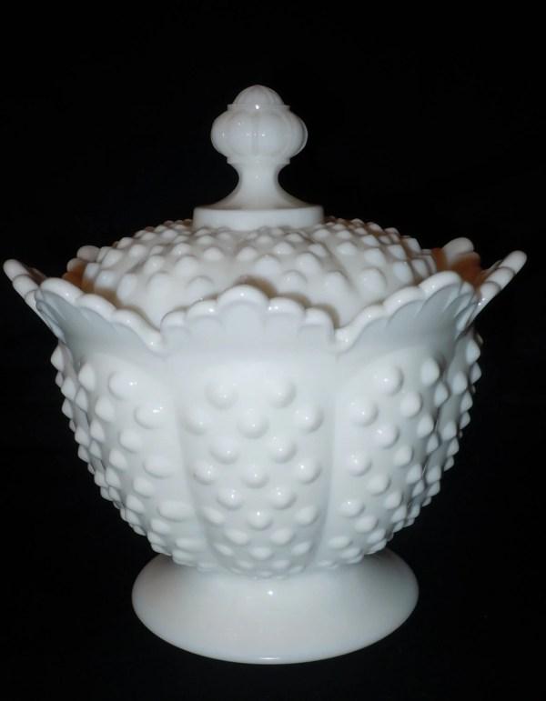 Antique Fenton Hobnob Milk Glass Candy Dish