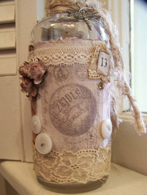 French Bottle Altered Art Vintage Original