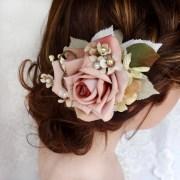 bridal hair clip dusty pink flower