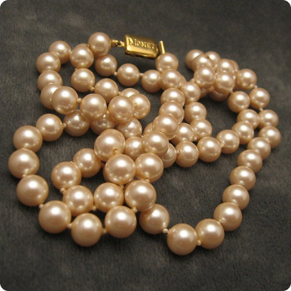 Reserved Vintage Glass Pearl Necklace Long Monet N4800