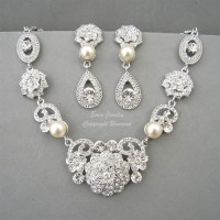 Vintage Style Bridal WEdding Necklace Earrings Jewelry Sets