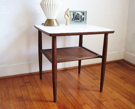 Mid Century Two Tier Wooden Side Table With White By