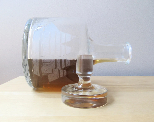 vintage liquor decanter, engraved sailing ship, nautical decor - ionesAttic
