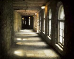 castle hallway dark interior windows gothic tunnel stone spring passageway lab