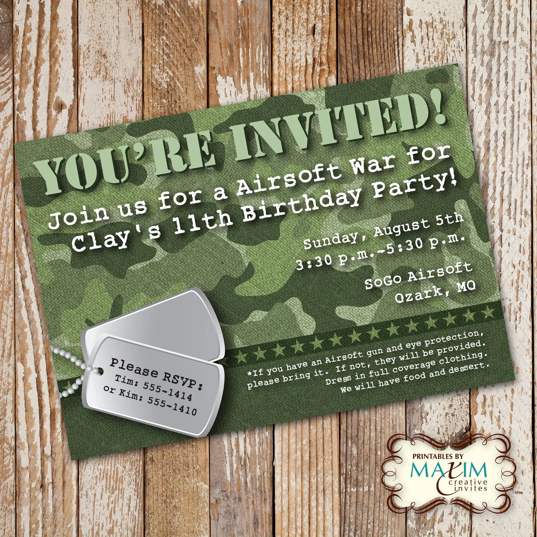 camo birthday invites