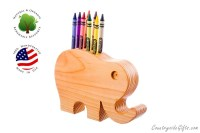 Crayon Holder Wooden Elephant Crayon Holder Handcrafted