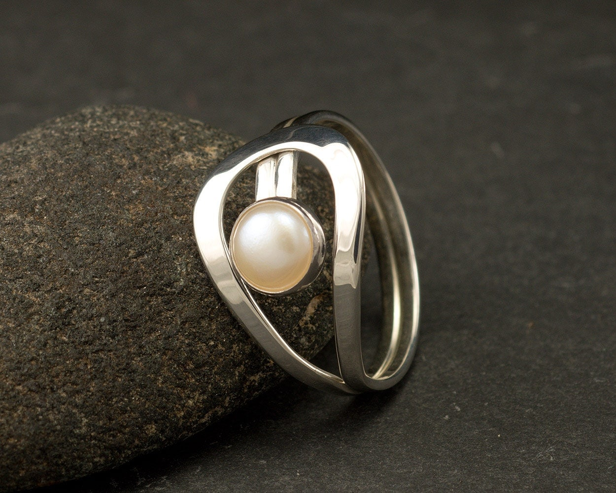 Pearl Ring Silver Pearl Ring Gemstone Ring Sterling Silver