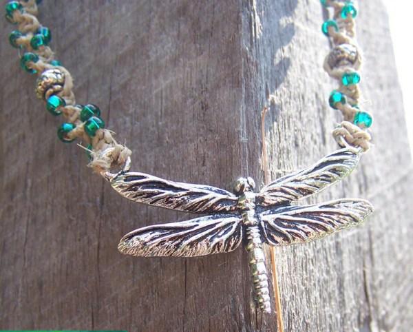 SALE Unique Handmade Hemp Jewelry Dragonfly Beaded