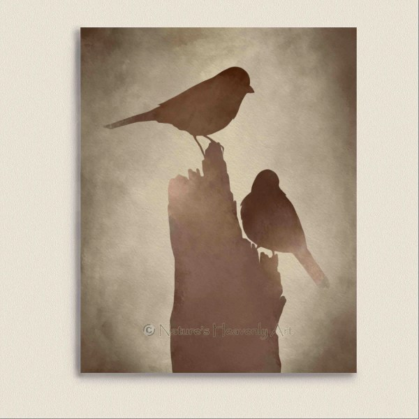 Bird Wall Art Print Brown Decor Earthtone