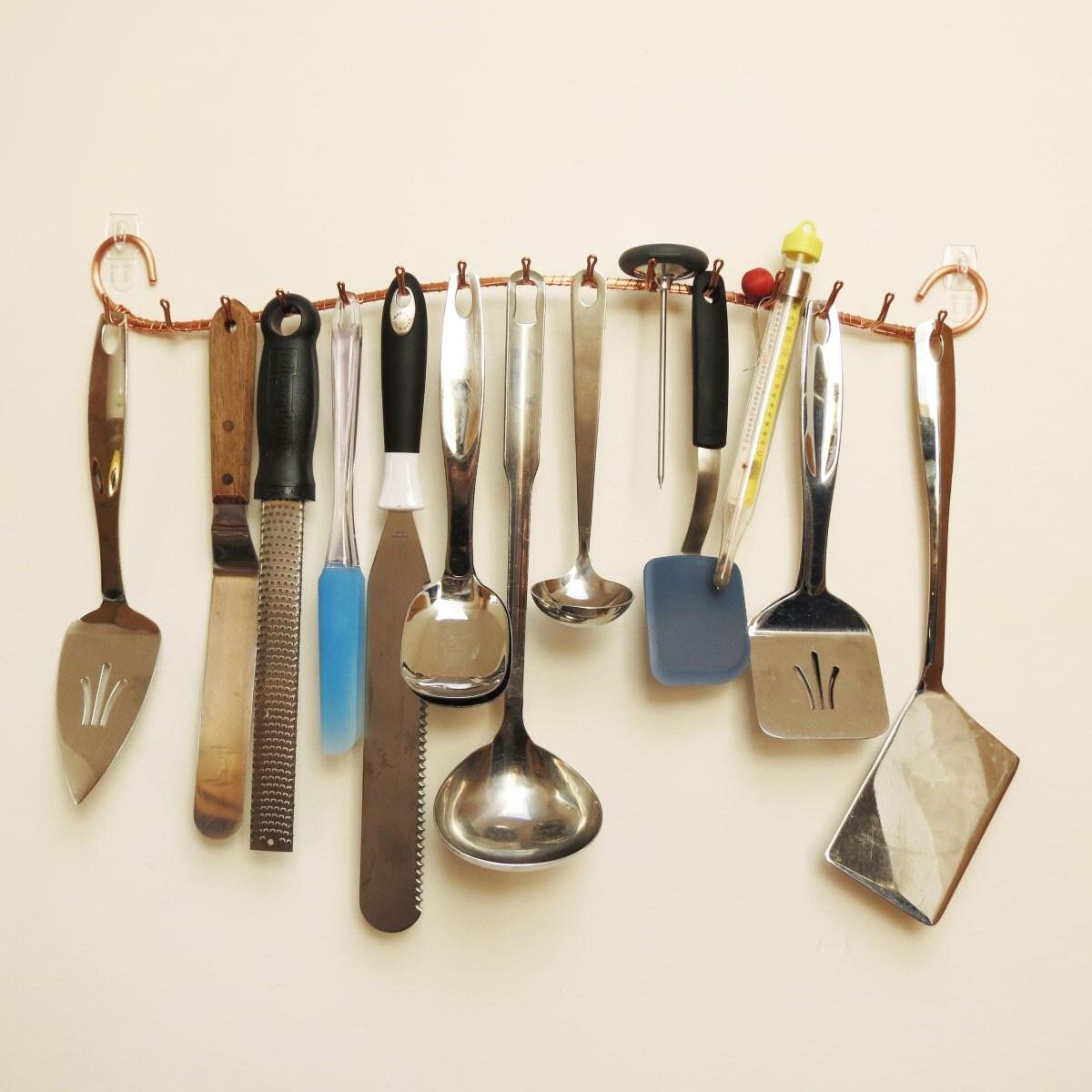 copper kitchen utensil holder retro tile backsplash wall hook rack tie jewelry