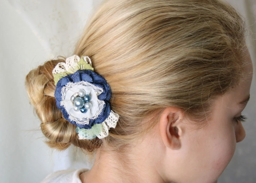 Floral Hair Barrette Navy Blue Fabric Flower By