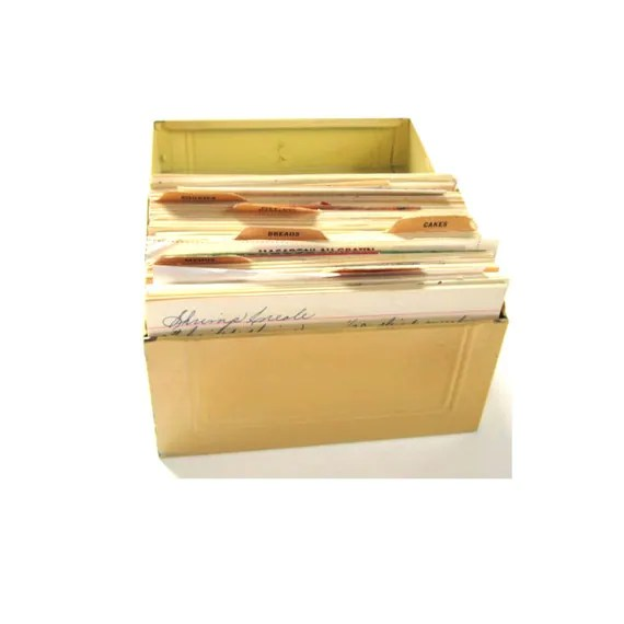 vintage retro metal index card file recipe box with recipes
