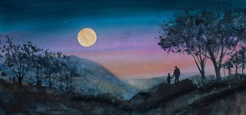How Far To The Moon Watercolor Print Full Moon Night Sky