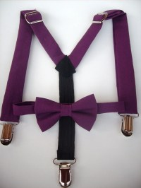 SALE bow tie and suspenders for toddler boy - solid purple ...