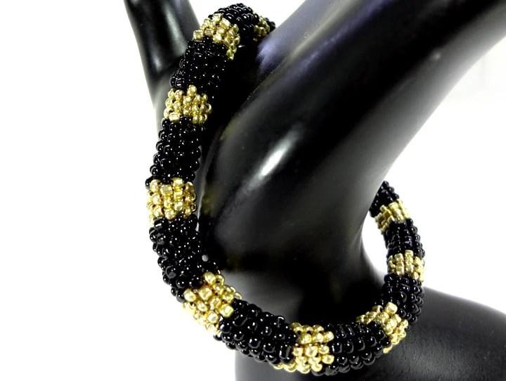 Modern Black and Gold Geometric Bangle Bracelet - New Years Jewelry - MegansBeadedDesigns