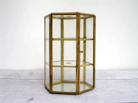 Display Case Glass and Brass Box or Small Curio Cabinet