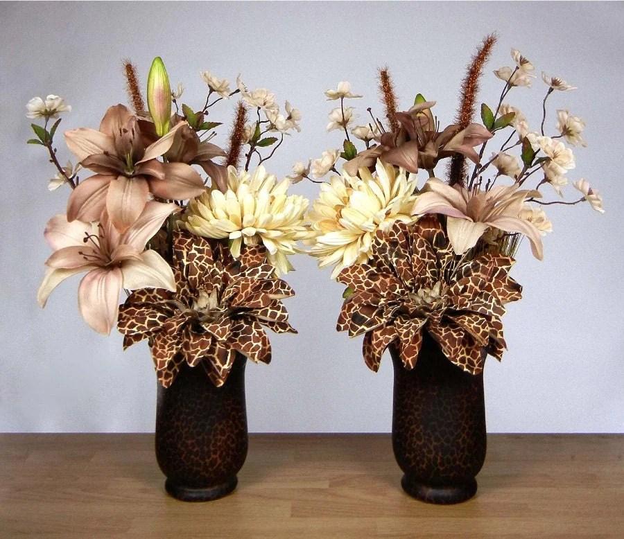 Pair of African Safari Theme Silk Floral by RachelsHeart