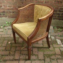 Mid Century Cane Barrel Chair Diy Accent Vintage 1940's French Provincial Arm Pale By Shoponsherman