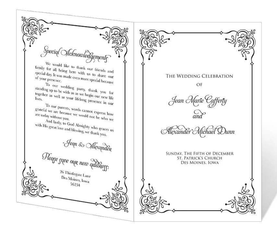 free downloadable wedding programs templates