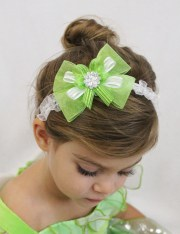 tinkerbell hair bow headband green