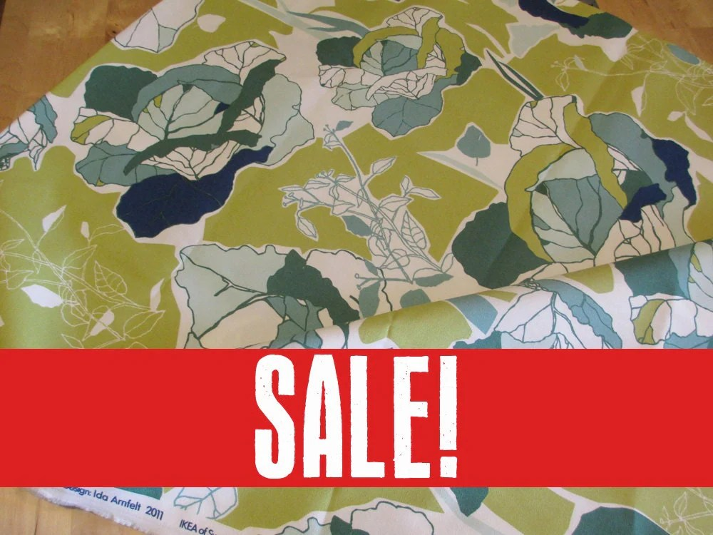SALE 20 OFF IKEA Janette Green Cotton Fabric 1 Yard
