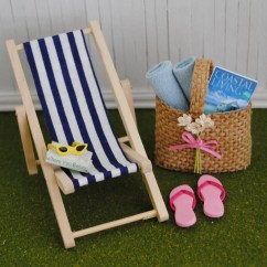 Mini Beach Chair Picture Frames Office Best Miniature Blue And White Striped By