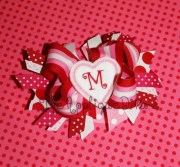 valentine heart hair bow center