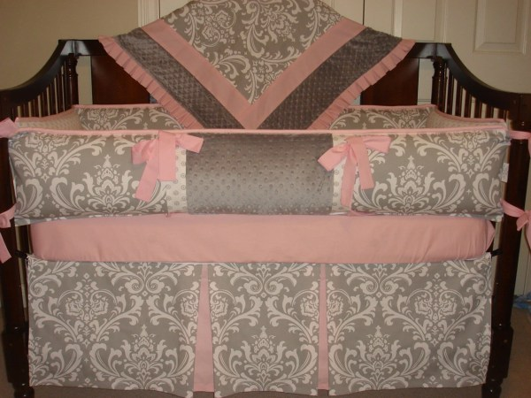 Custom Crib Bedding Set Gray Damask Pink Katyasdesign