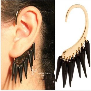 1Pc Gothic Punk Black/Red Rivet Spiked Spike Golden Metal Ear Cuff Wrap Earrings NO PIERCING - JanesGiftStore