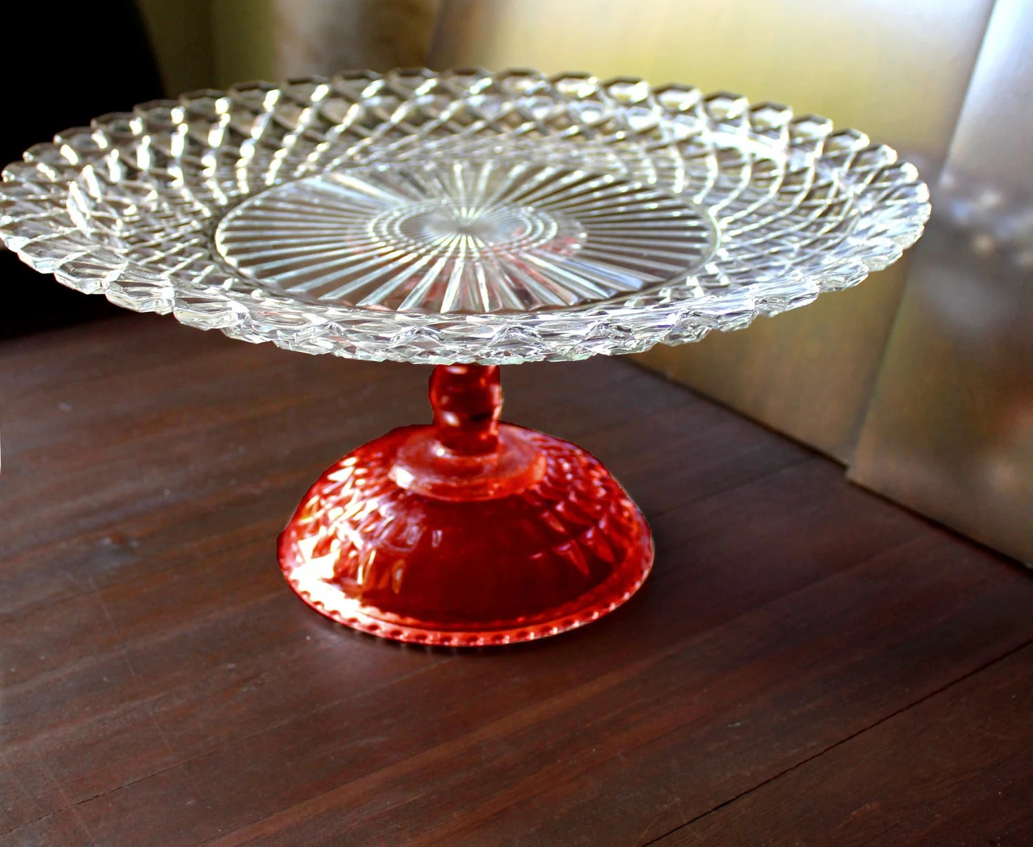Pin 14 Cake Stand Pedestal In Ruby Red Glass Cake