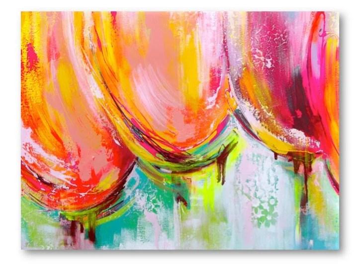 Large Original Abstract Painting Tulips Pink Orange