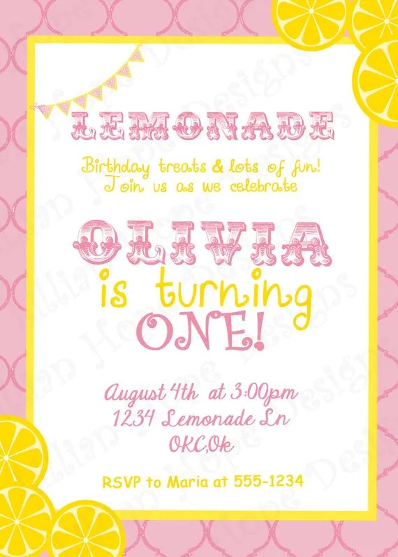 Lemonade Party PRINTABLE Custom Invitation And Thank You